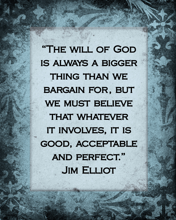 The Will of God by Jim Elliott {Love My DIY Home}